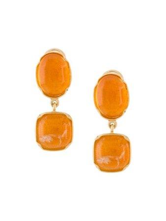 Goossens Two Cabochons Clip Earrings GOP17EA032 Orange | Farfetch