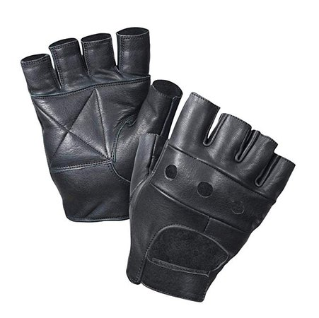 Amazon.com: Leather Fingerless Gloves, Padded Palms, Soft Lambskin Leather (Black, XS): Clothing