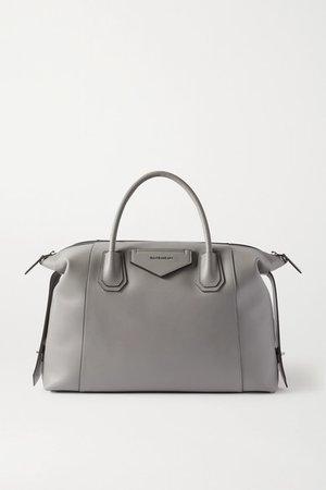 Antigona Soft Medium Leather Tote - Gray