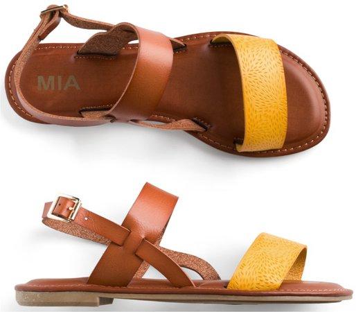 brown and mustard sandal