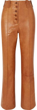 Leather Flared Pants - Camel