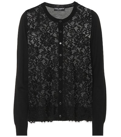 Lace wool and cotton-blend cardigan