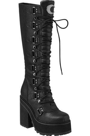 Grunge moon leather high boots