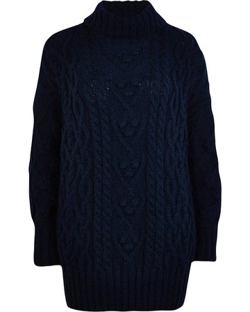 Navy chunky cable knit jumper | River Island