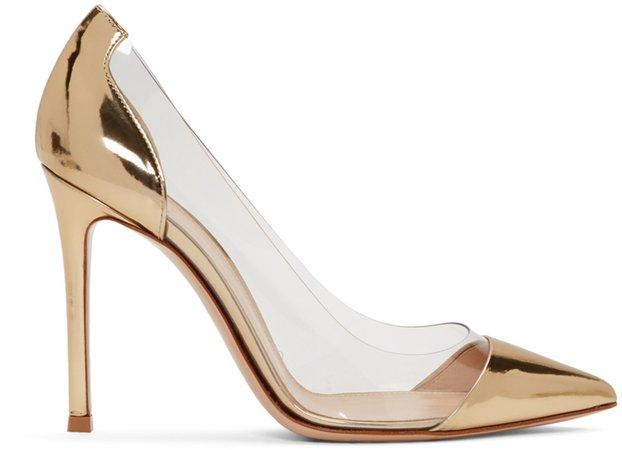 Gianvito Rossi: Gold Metallic Patent Plexi Heels | SSENSE