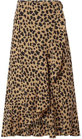 RIXO London - Gracie Leopard-print Silk-crepe Wrap Skirt - Leopard print