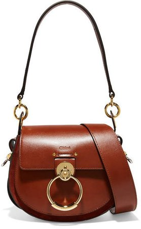 Tess Leather And Suede Shoulder Bag - Brown