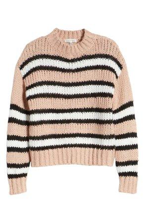 Woven Heart Striped Cozy Sweater beige