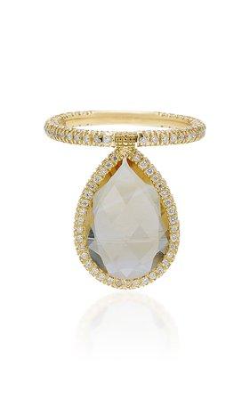 Nina Runsdorf 18K Gold Citrine And Diamond Flip Ring