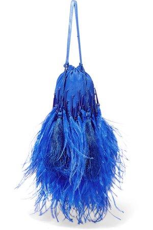Attico | Feather-trimmed beaded silk pouch | NET-A-PORTER.COM