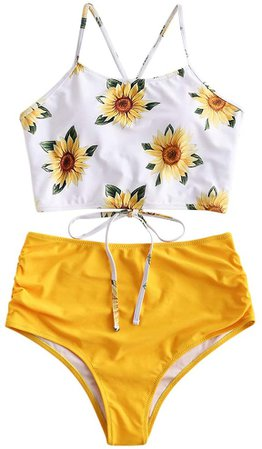 Amazon.com: ZAFUL Sunflower Bikini Set Padded Lace Up Ruched Tankini High Waisted Bathing Suit: Clothing