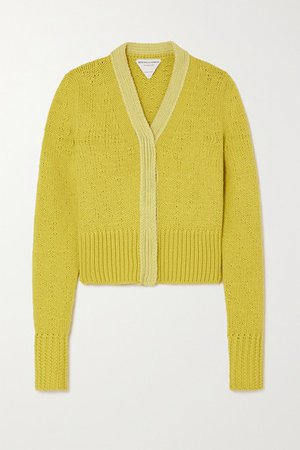 Wool And Cashmere-blend Cardigan - Yellow