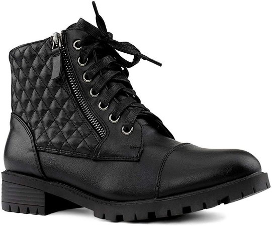 Amazon.com | RF ROOM OF FASHION Women's Wide Width Lug Sole Ankle Combat Hiking Boots w Pocket Black Size.10 | Ankle & Bootie