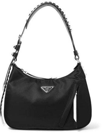 Vela Studded Leather-trimmed Shell Shoulder Bag - Black
