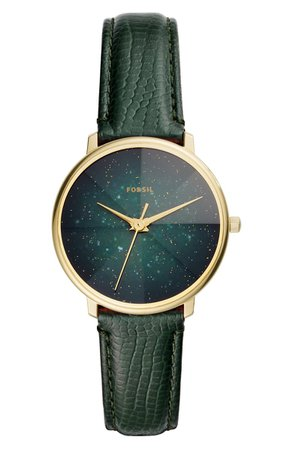 Fossil Prismatic Galaxy Leather Strap Watch, 33mm | Nordstrom