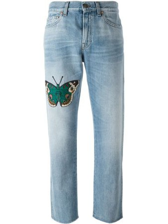 Gucci embroidered butterfly jeans