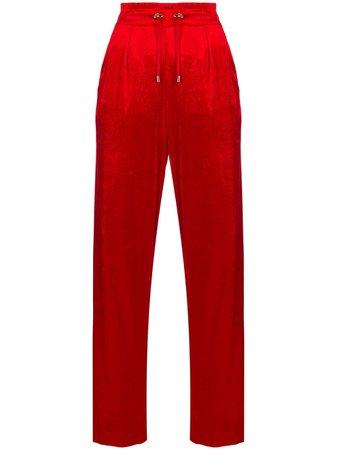 Red Balmain Straight-leg Velour Track Pants   Farfetch.com