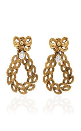 Medium Antique Gold Bow And Leaf Chain Earrings by Rodarte   Moda Operandi