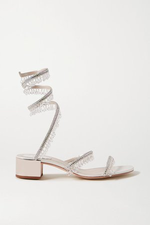 Cleo Embellished Satin And Metallic Leather Sandals - Silver