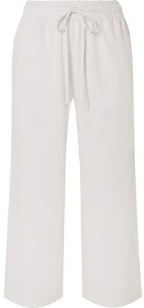 Cropped Cotton-jersey Wide-leg Pants - White