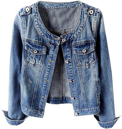 Kedera Women's Collarless Denim Jackets Long Sleeve Stretch Jeans Coat at Amazon Women's Coats Shop