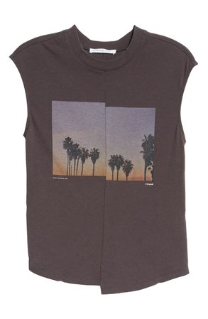 FRAME Palm Graphic Cotton Muscle Tee black