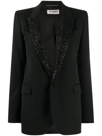 Saint Laurent sequin-lapel Blazer Jacket - Farfetch