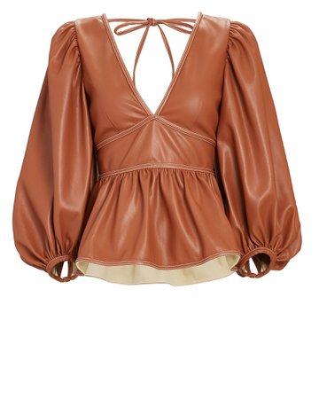 STAUD Luna Vegan Leather Puff Sleeve Top | INTERMIX®