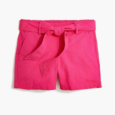 J.Crew Factory: Tie-waist Short In Linen-cotton For Women