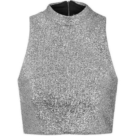 TOPSHOP Metallic Silver Tinsel High Neck Crop Top