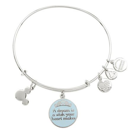 Disney Parks Cinderella Dream Charm Bracelet Alex & Ani Silver New Wit