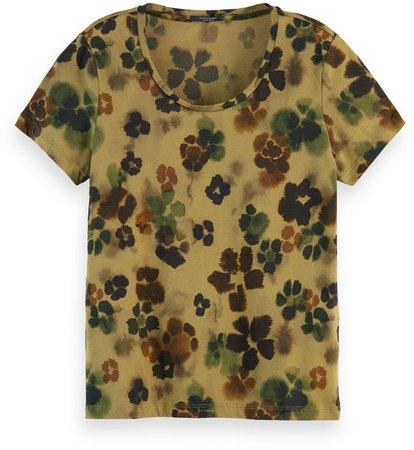 Floral Stencil Print T-Shirt