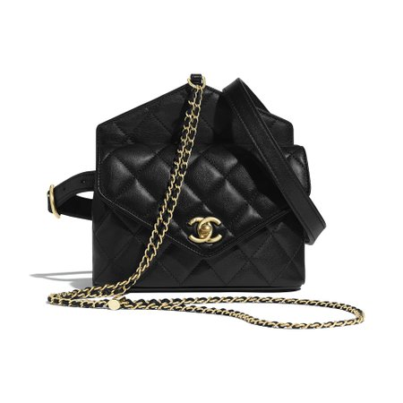 Calfskin & Gold-Tone Metal Black Waist Bag   CHANEL