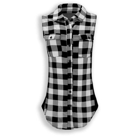 Black and white plaid button up sleeveless