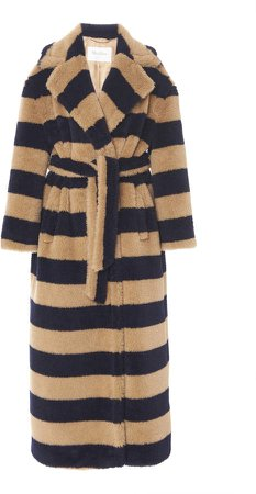 Max Mara Teddy Oversized Striped Alpaca-Blend Coat