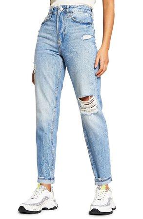 River Island Ripped High Waist Straight Leg Jeans | Nordstrom