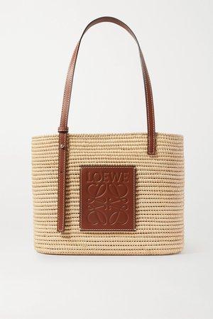 Brown + Paula's Ibiza small leather-trimmed woven raffia tote | Loewe | NET-A-PORTER