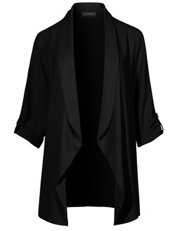 LE3NO Womens Lightweight Loose Draped Open Front Roll Up 3/4 Sleeve Long Blazer Jacket | LE3NO black