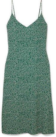 Alexandra Floral-print Crepe Midi Dress - Green
