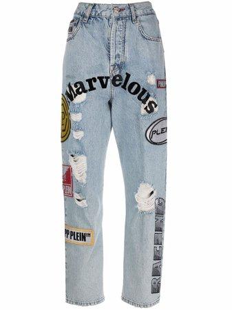 Shop Philipp Plein patchwork boyfriend jeans with Express Delivery - FARFETCH