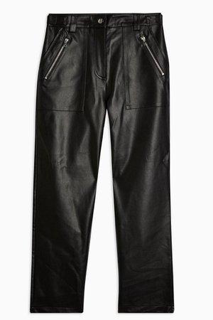 Black Faux Leather Straight Leg Pants   Topshop