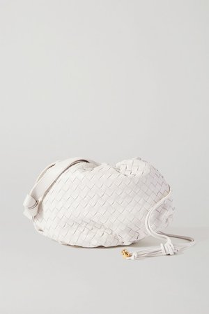 The Small Bulb Gathered Intrecciato Leather Shoulder Bag - White