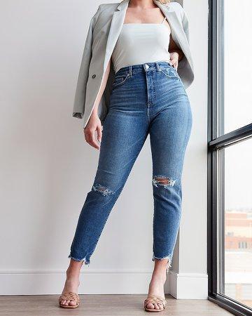 Super High Waisted Ripped Raw Hem Curvy Slim Jeans