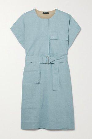 Belted Linen-blend Mini Dress - Blue
