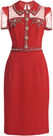 Jenny Packham Embroidered Crepe Dress