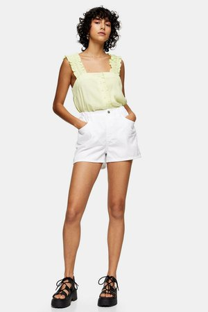 White High Waisted Denim Pull On Shorts   Topshop