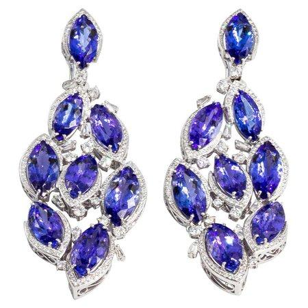 Important Tanzanite Diamond Earrings at 1stDibs