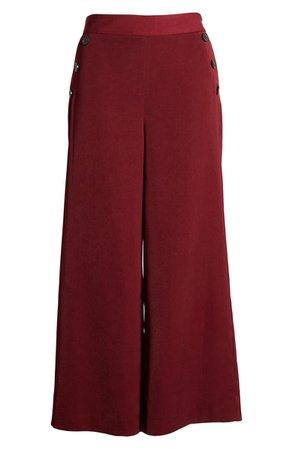 Halogen® Wide Leg Crop Pants (Regular & Petite) burgundy