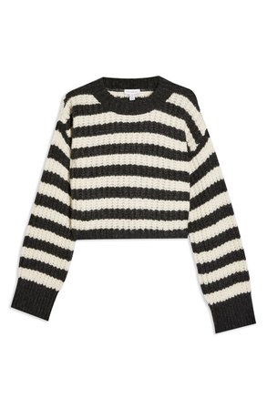 Topshop Stripe Crewneck Sweater black white