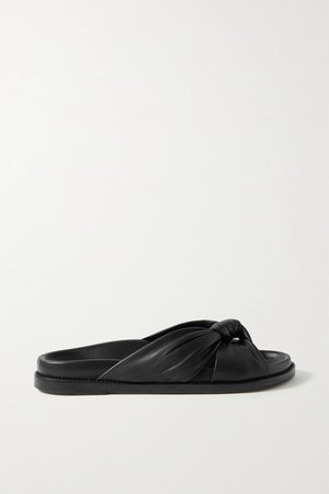 Knotted Leather Slides - Black
